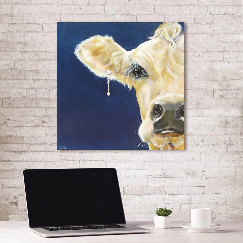 Portfolio Canvas Décor Cow Diamonds & Pearls by Carol Gillan Wrapped Canvas Wall Art, 24x24