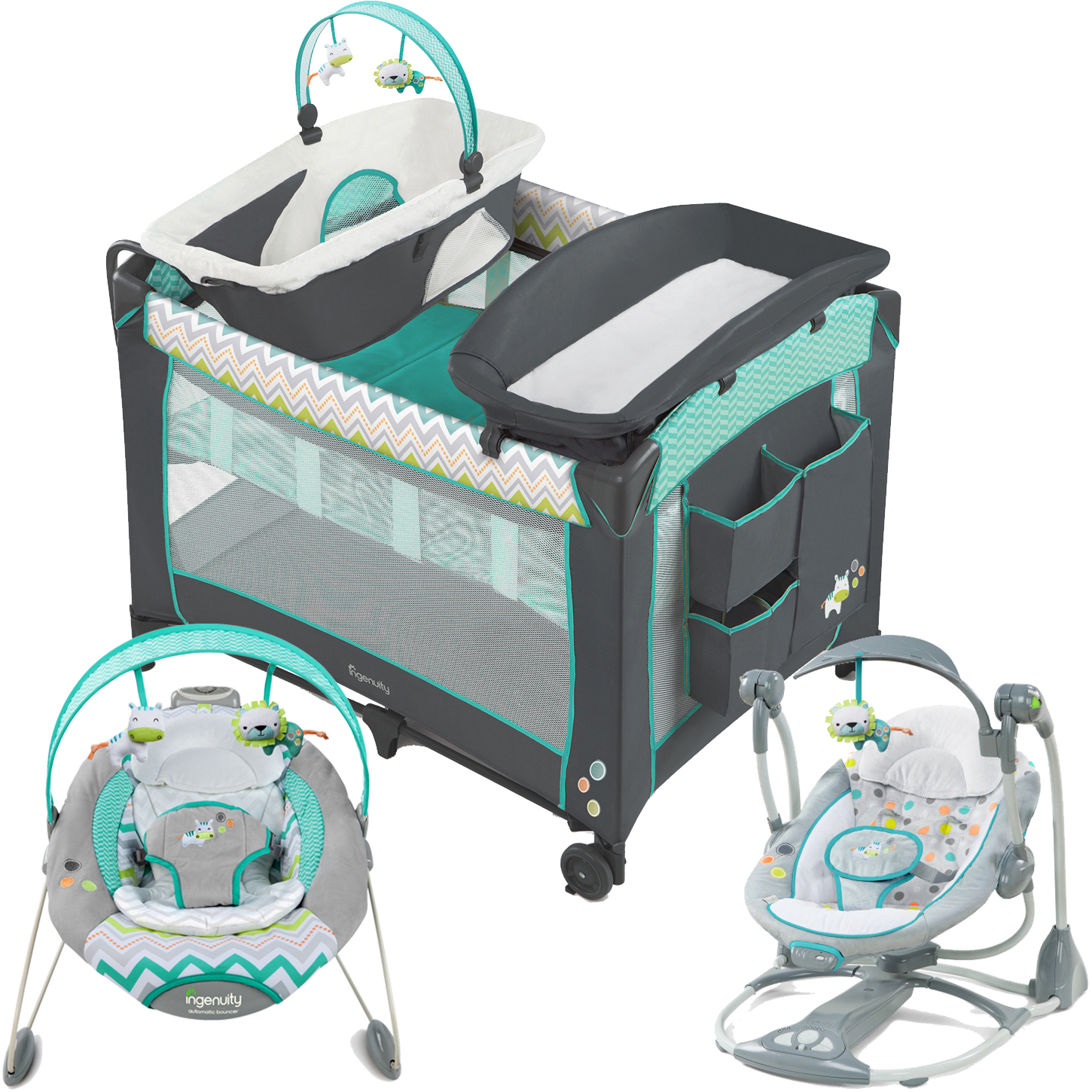Ingenuity Ridgedale Collection Playard, Swing, and Bouncer Value Set