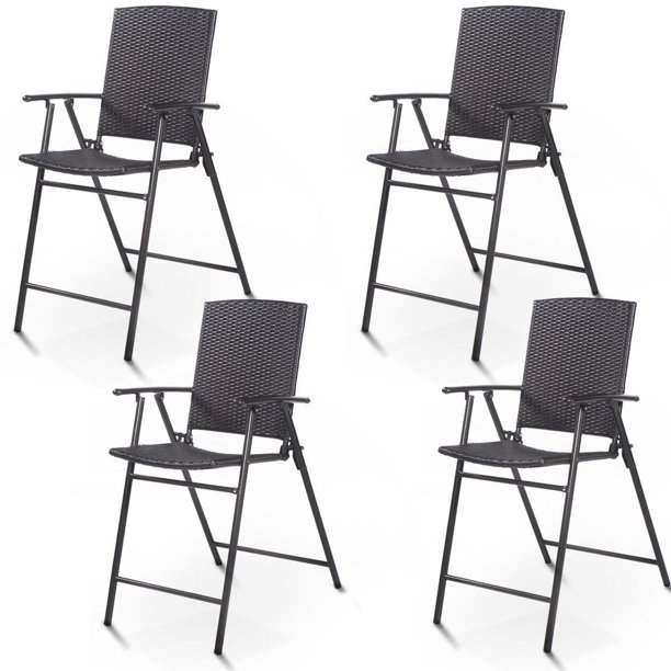 Costway 4 PCS Folding Rattan Wicker Bar Stool Chair Indoor &Outdoor Furniture Brown