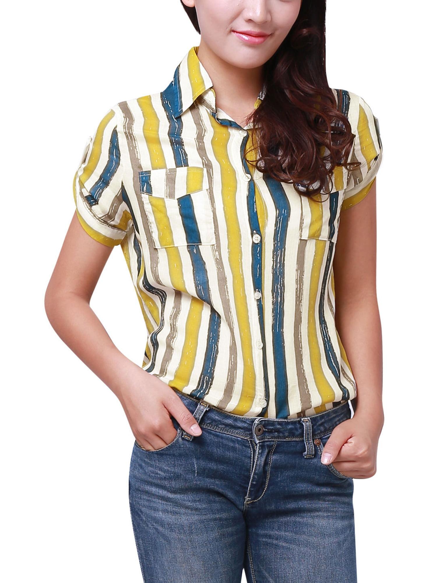 Point Collar Short Sleeve Striped Shirt for Women