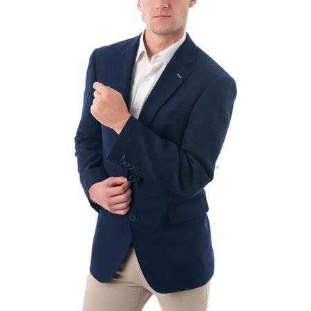 Men's Dark Navy Blue Wool Blend Classic Fit Blazer
