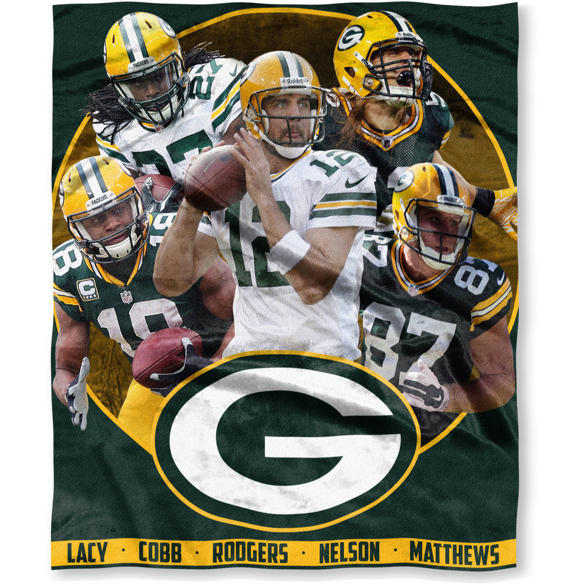 "NFL Players Association 50"" x 60"" Green Bay Packers Team Players High Definition Silk Touch Throw"