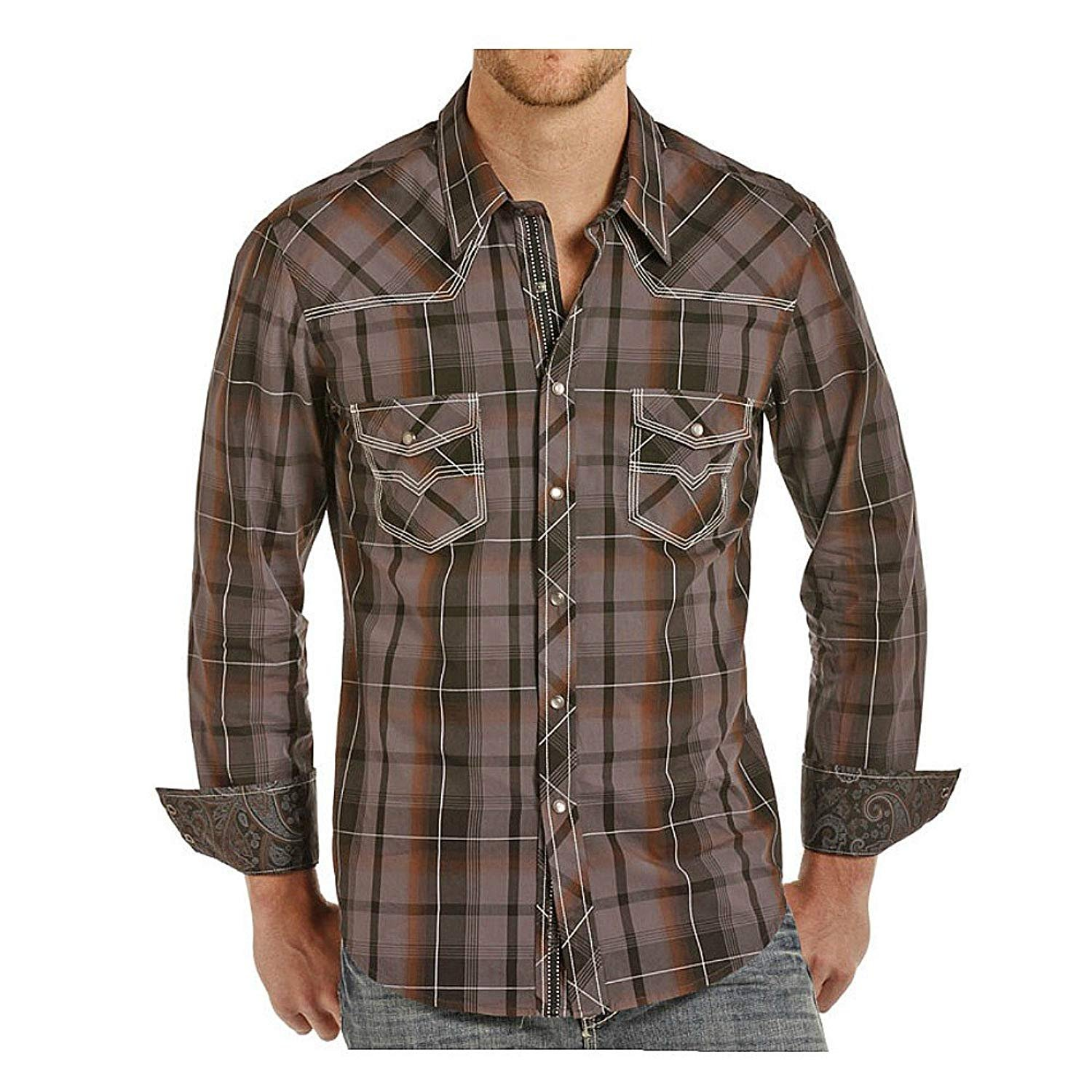 Rock And Roll Cowboy Rock And Roll Cowboy Mens Charcoal Plaid
