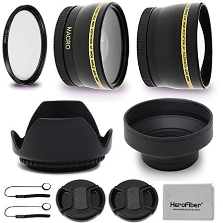 58mm Lens Accessories Kit with 58mm 2X Telephoto Lens Hood, 58mm Wide angle Lens, Lens Hood + more f/ For 58mm Lenses & Cameras including CANON EOS 80D 70D 6D Mark II EOS Rebel T7i T6s T6i T6 T5i