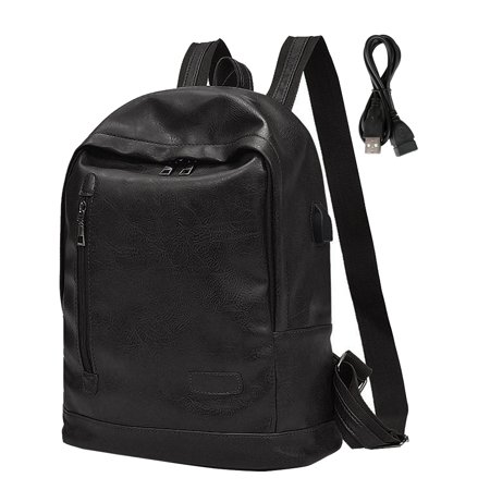 6f38090bd1faff Vbiger Men Women PU Leather Backpack Fashionable School Shoulders Bag Stylish  Travel Backpacks Casual Outdoor Daypack Trendy Laptop Shoulders Bag with  USB ...