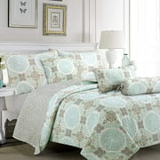 Cozy Line Home Fashions Green/Grey Damask Reversible Bedding Quilt Set (Aqua Melody, Queen - 3 Piece)