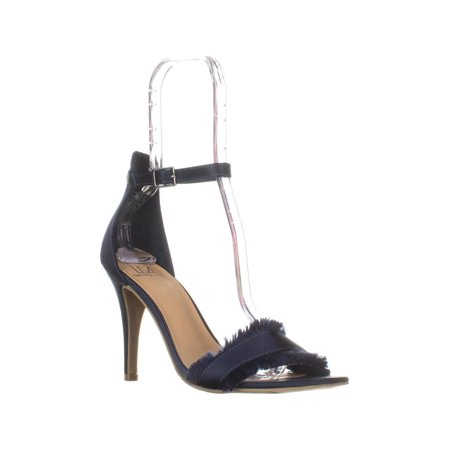 Womens MG35 Biance Open Toe Buckle Heels, Navy](Blue Wedding Heels)