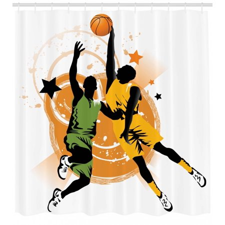 Basketball Shower Curtain Image Of Two Players In A Heated Game Rings Stars The Background Fabric Bathroom Set With Hooks Orange Green