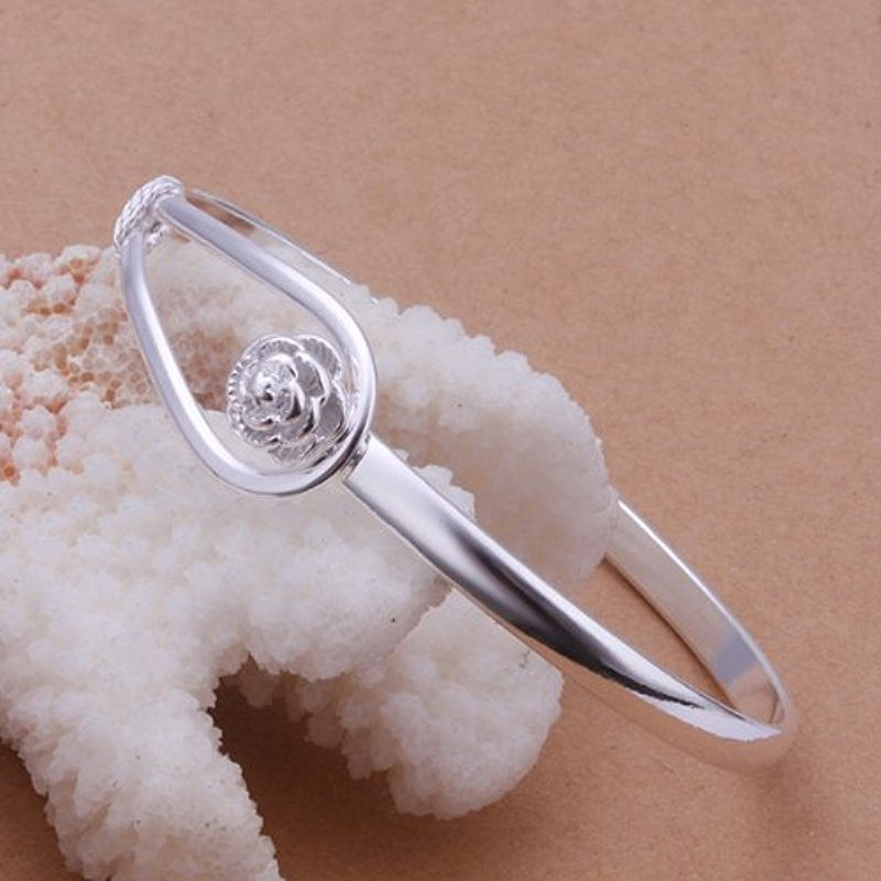 Fashion Jewelry 925 Sterling Silver Plated Circle Rings Bangle Bracelet
