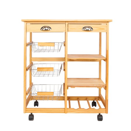 Kitchen Movable Wheeled Cart Multifunctional Drawers Rolling Storage Rack Office Dining Room Shelf