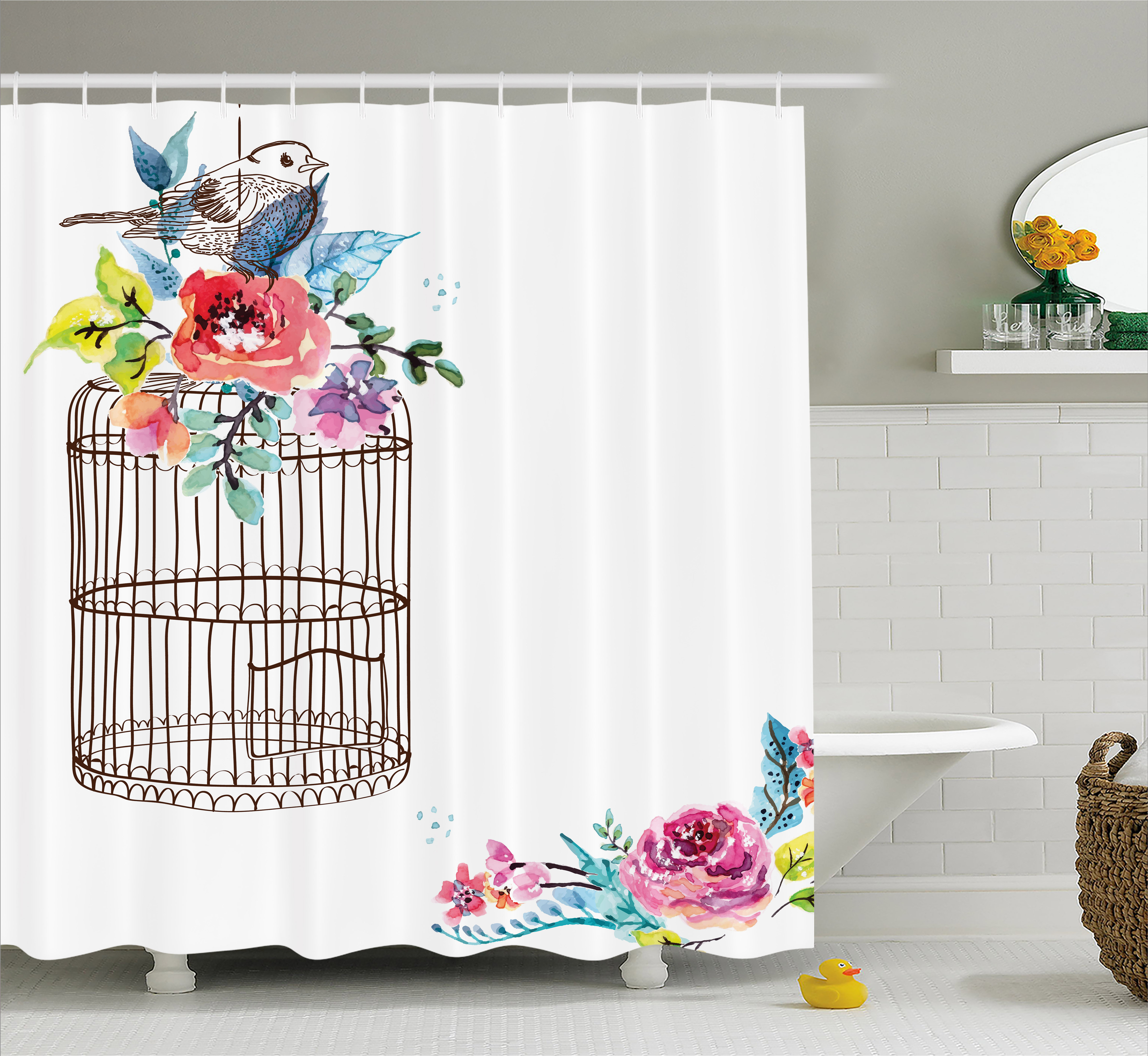 Watercolor Shower Curtain Sketch Of A Bird On An Empty Cage With Colorful Flowers Nature Imagery Fabric Bathroom Set Hooks 69W X 70L Inches