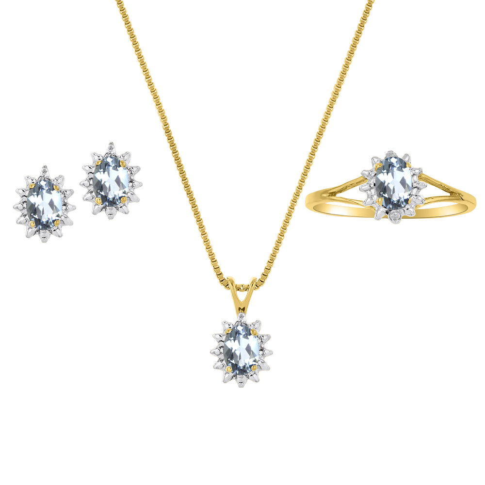 Genuine Natural Aquamarine & Diamond Pendant, Earrings & Ring Set in 14k Yellow Gold Plated silver with Chain and Gift Box