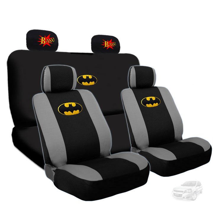 Deluxe Batman Car Seat Covers Bundled with 2 Classic Comic Book BAM! Logo Headrest Covers Gift Set - Shipping Included