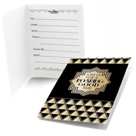 Roaring 20's - Fill In 1920s Art Deco Jazz Party Invitations (8 -