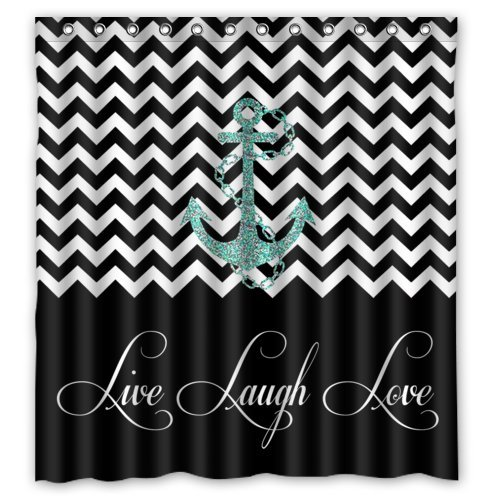 GreenDecor Hipster Quotes Live Love Laugh In Black Colorblock Chevron With Anchor Waterproof Shower Curtain Set with Hooks Bathroom Accessories Size 66x72 inches