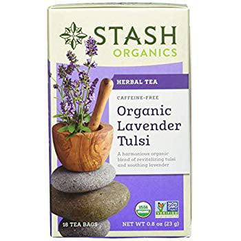 Organic Lavender Tulsi Herbal Tea 18 Count Tea Bags in Foil (Pack of 6) (Packaging May Vary) Individual Herbal Tea...