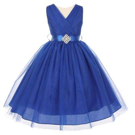 Big Girls Royal Blue V Neck Rhinestone Brooch Tulle Junior Bridesmaid Dress 10