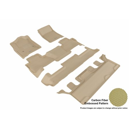 3D MAXpider 2015-2017 Chevrolet Tahoe Bucket Seating Front, Second, & Third Row Set All Weather Floor Liners in Tan with Carbon Fiber Look ()