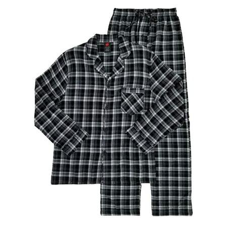 Hanes Mens 2-Piece Black Plaid Flannel Sleepwear Pajama Set Sleep Set