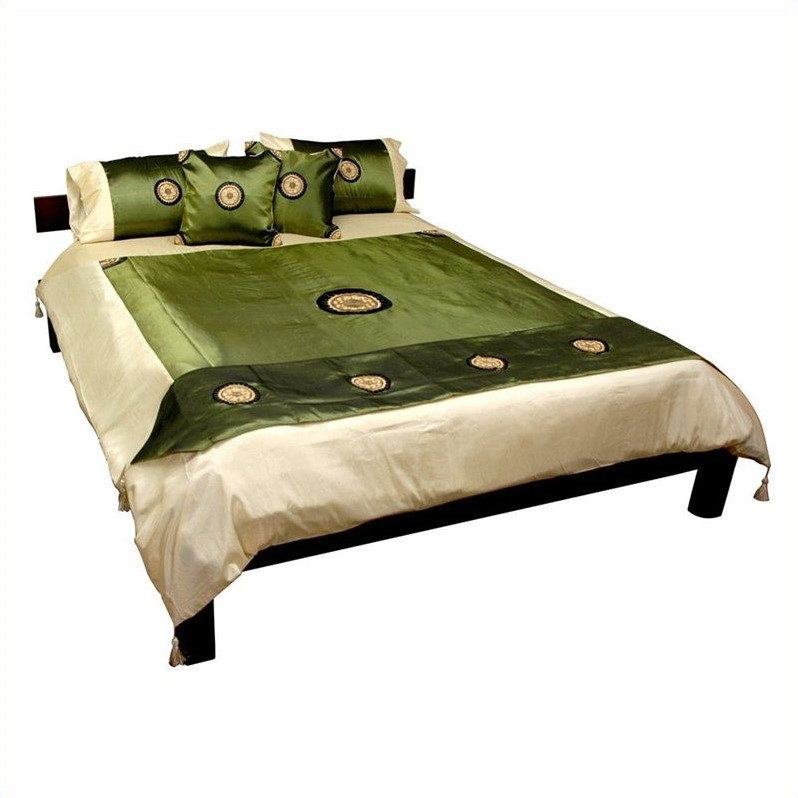 Oriental Furniture Thai Silk Medallion Duvet Set in Jade-...
