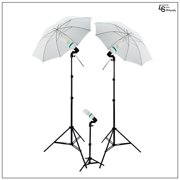 Photography Premium Lighting Kit with Shoot Through Umbrellas, Light Stands, and 45W 6500K CFL Bulbs by Loadstone Studio WMLS0599