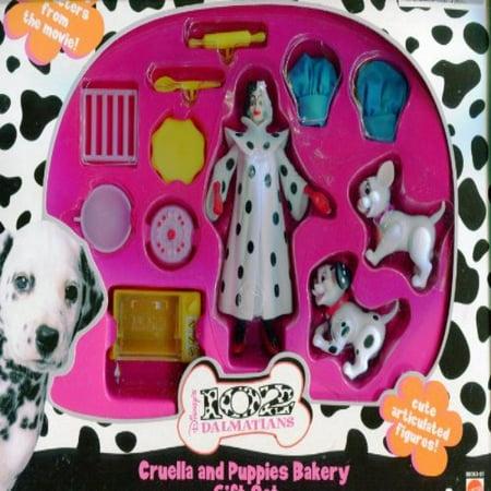 Disney 102 Dalmations ** Cruella and Puppies Bakery Gift Set ** Cute Articulated Figures ** Rare 2000 Set - Disney Cruella De Vil