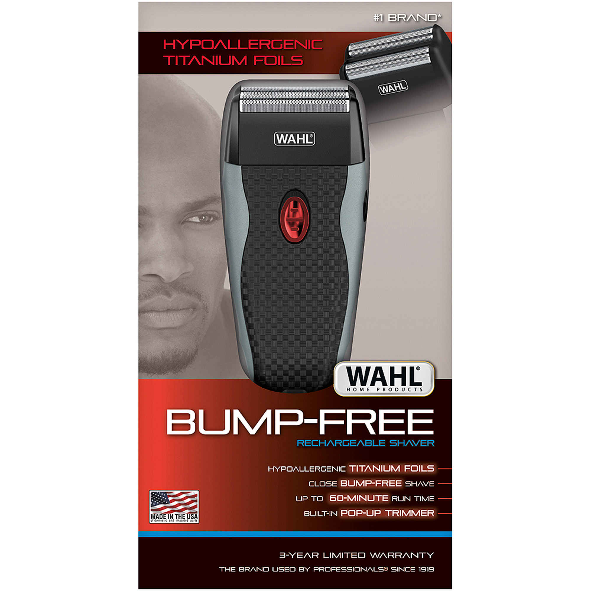 Wahl Bump-Free Rechargeable Shaver, Model 7339, 7 pc