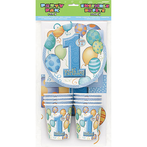 Blue Balloons 1st Birthday Party Kit for 8