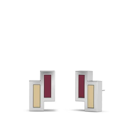 Florida State University - Asymmetric Enamel Stud Earrings in Dark Red and - Florida State University Earrings