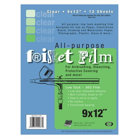 Grafix Low-Tack Frisket Film Sheets, 9in x 12in, Clear, 12/Pkg.