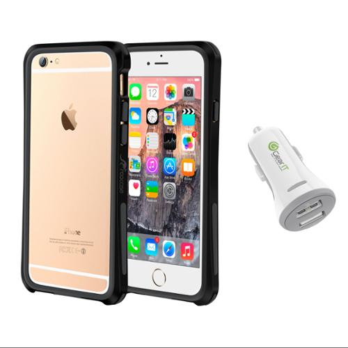 iPhone 6 Case Bundle (Case + Charger), roocase iPhone 6 4.7 Linear Bumper Open Back with Corner Edge Protection Case Cover with White 3.4A Car Charger for Apple iPhone 6 4.7-inch, Black