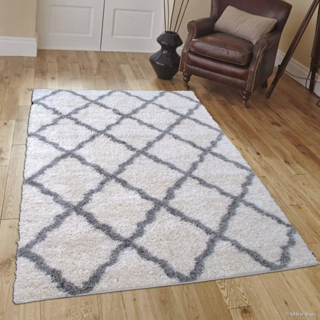 Allstar Modern Contemporary Ivory Grey High Pile Posh Shaggy Trellis Unique Patterned Area Rugs