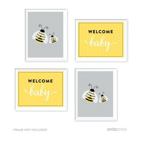 Mama to Bee Bumblebee Baby Shower Party Signs & Graphic Decorations, 4-Pack - Gender Neutral Baby Shower Decorations