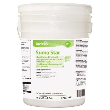 Diversey Suma Star D1 Hand Dishwashing Detergent, Unscented, 5 Gallon Pail Dishwashing Liquid Gallon