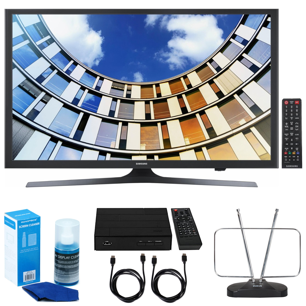 Samsung UN49M5300- 49-Inch Full HD Smart LED TV w/ TV Cut The Cord Bundle Includes, HD Digital TV Tuner w/ Recording, Durable HDTV & FM Antenna, 2x 6ft. HDMI Cable & Screen Cleaner for LED TVs