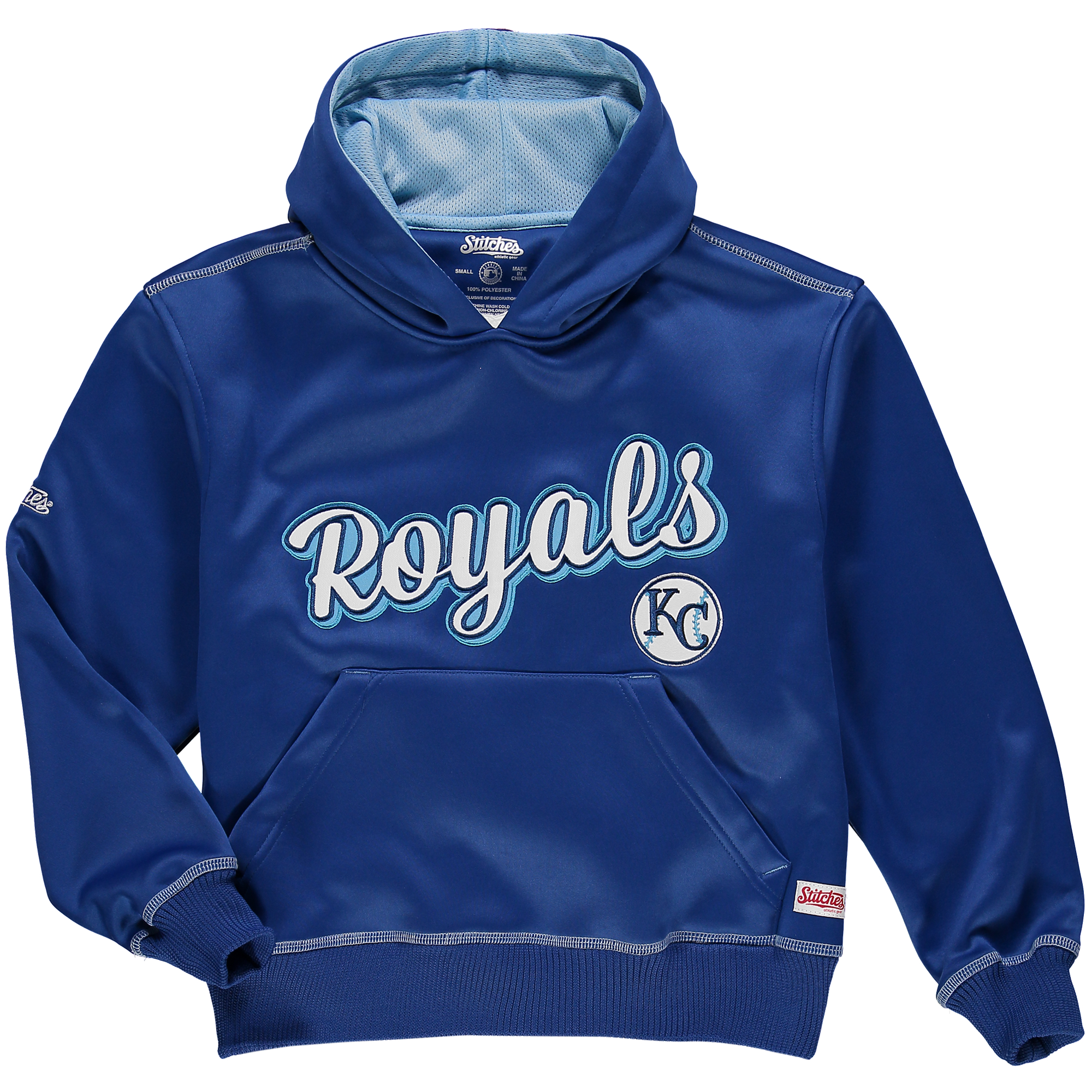 Kansas City Royals Stitches Youth Jumbo Pullover Hoodie - Royal