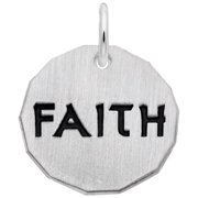 """Religious Gifts for Women - Sterling Silver Faith Tag Charm (Baxley Jewelry 2020) - Charm with 18"""" Box Chain"""