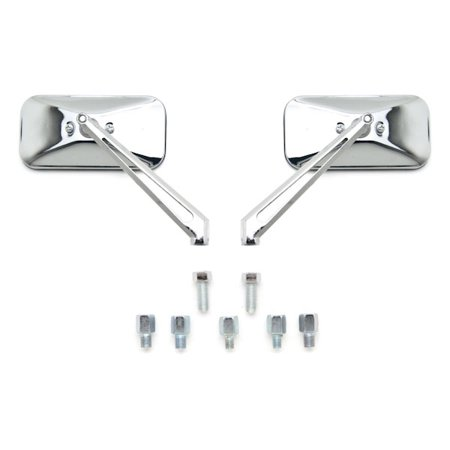 Custom Rear View Mirrors Chrome Pair w/Adapters For Harley Davidson FXB Dyna Sturgis 80 - image 2 of 3