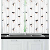 Ostrich Curtains 2 Panels Set, Zoo Baby Camel Birds Savannah Exotic Mammal Pattern Farm Wild Life, Window Drapes for Living Room Bedroom, 55W X 39L Inches, Dark Blue Grey Orange White, by Ambesonne