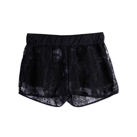 Lavaport Women Sexy Lace Floral Crochet Hollow Shorts Stretch Low Waist Pants