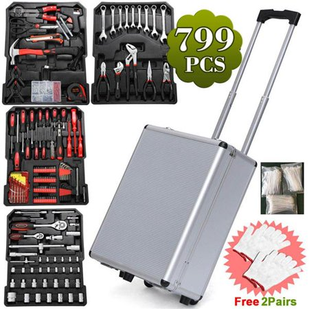 - Yaheetech 799pcs General Tool Set,Household Tool Kit, with Sturdy Aluminium Toolbox Storage Trolley(Screwdriver,Adjustable Wrench,Pliers,Ratchet,Claw Hammer)