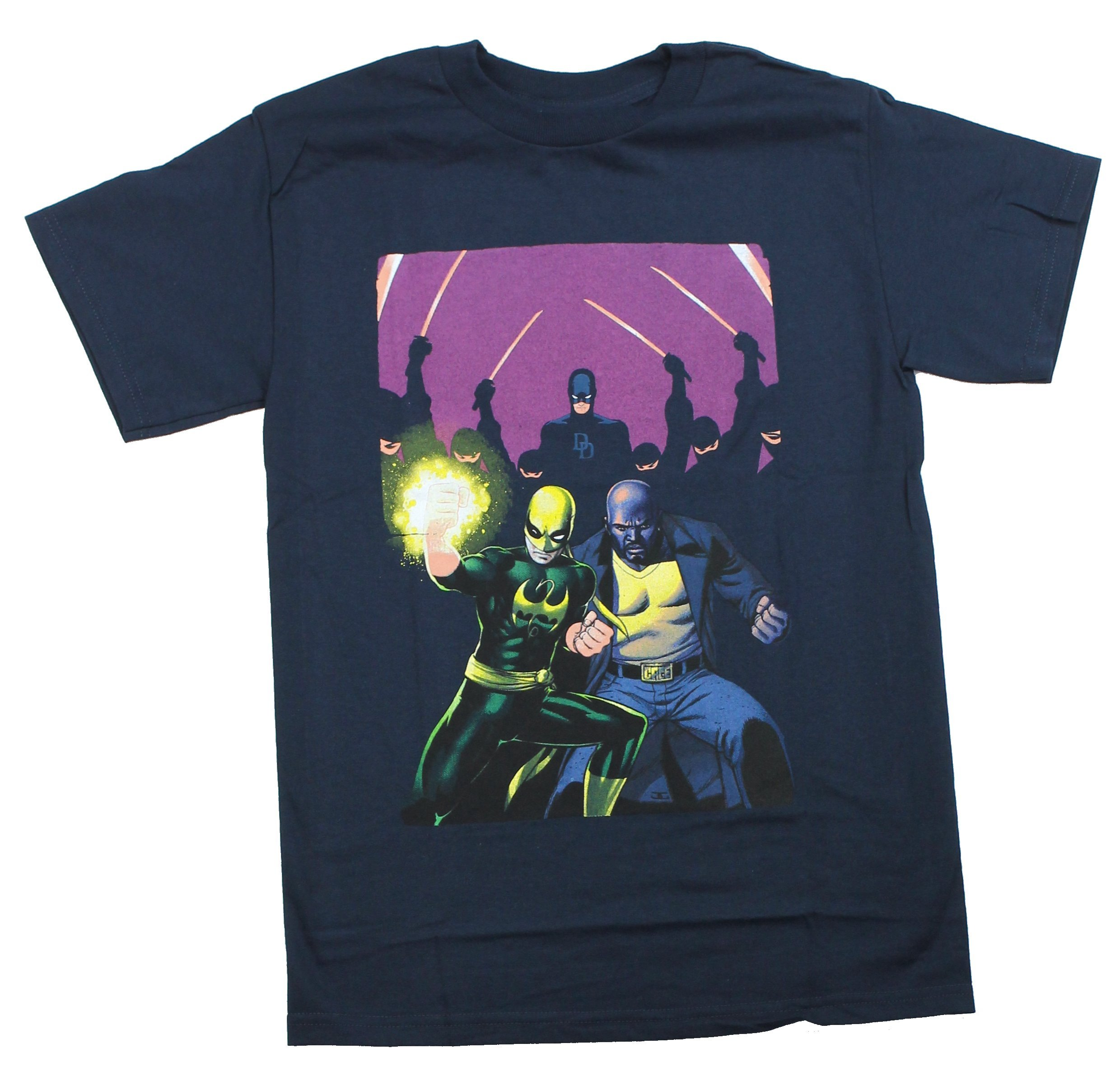 Iron Man & Luke Cage Mens T-Shirt - Defenders with Daredevil Fight The Hand