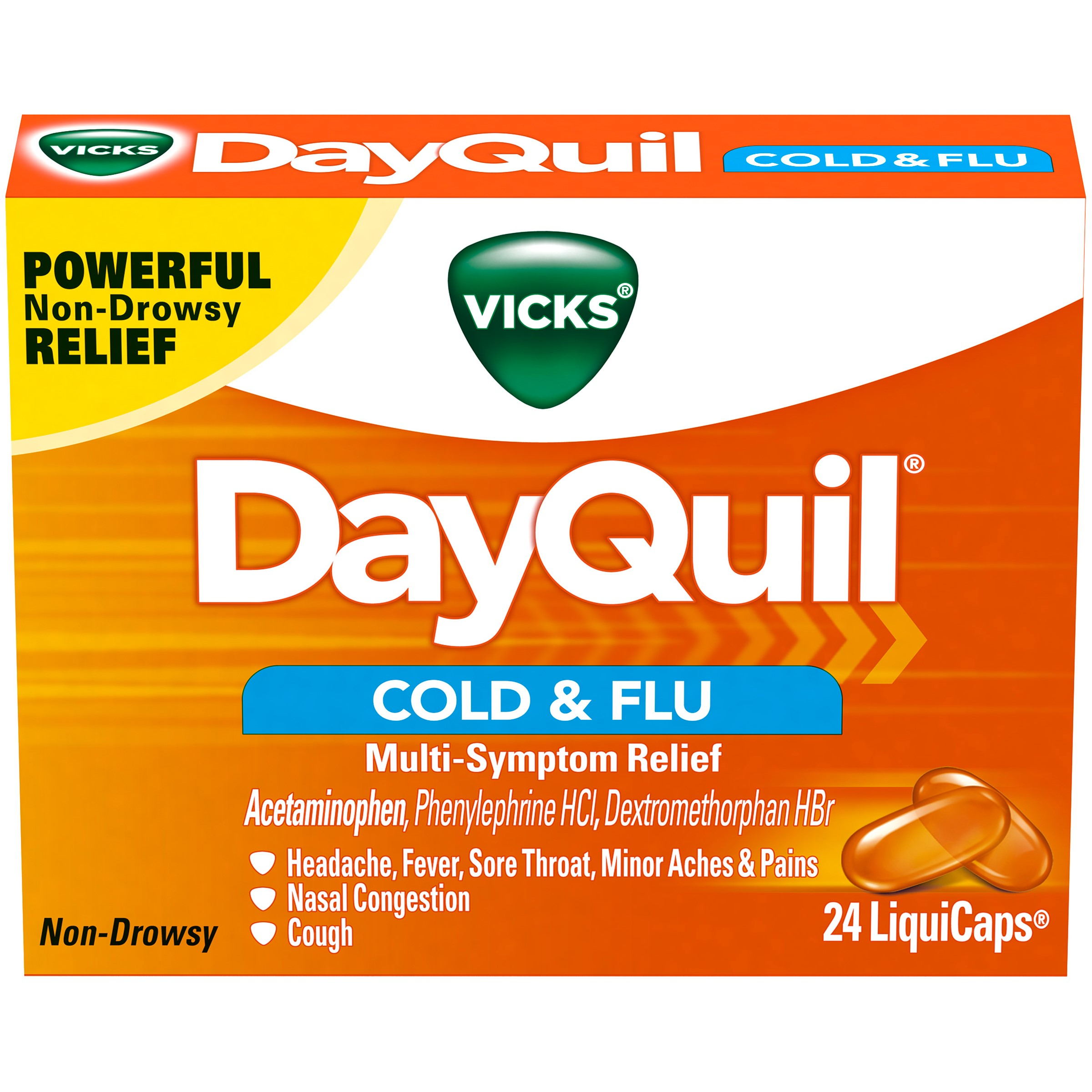 Vicks DayQuil Cold & Flu Multi-Symptom Relief, LiquiCaps, 24 Count
