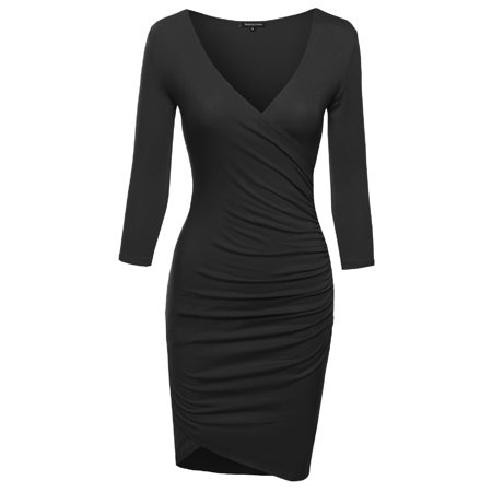 FashionOutfit Women's Super Sexy 3/4 Sleeve Body Con Wrap (Best Type Of Dress For My Body Shape)