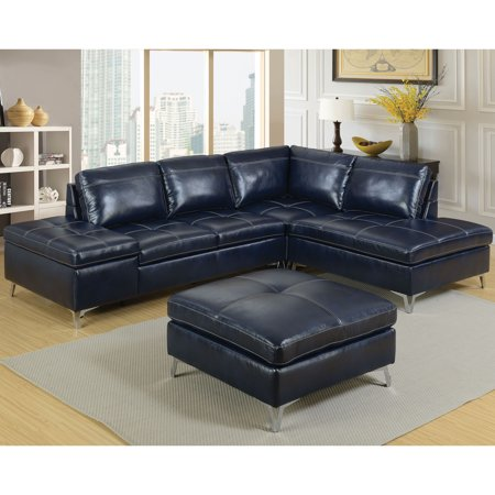 Furniture of America Brandon Modern Leather Sectional Sofa with Ottoman,  Navy Blue