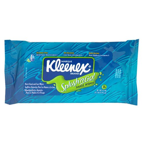 Splash 'n Go! Alcohol Free Hand and Face Wipes, Travel Pack - 14 ea by Kleenex