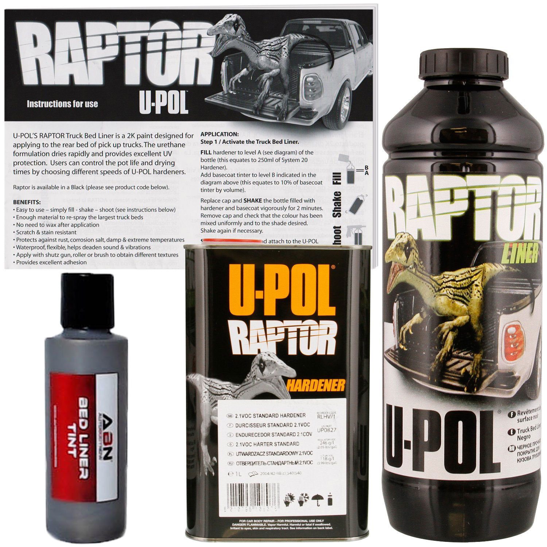 U-POL Raptor Tintable Pewter Metallic Bed Liner & Texture 1 Liter Upol