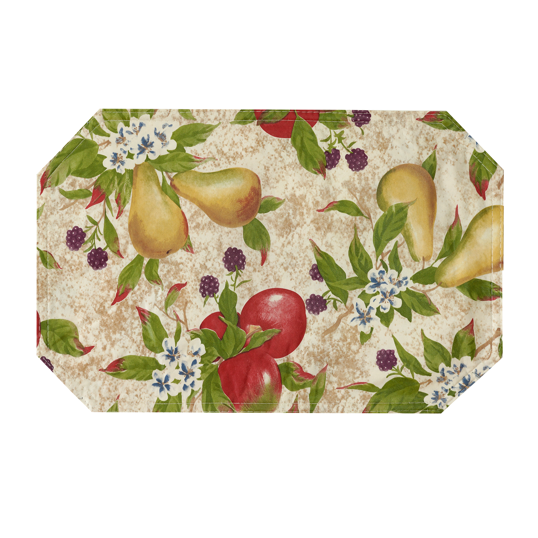 Orchard Fruits Vinyl Easy Care Reversible Placemat (Set of 12) by