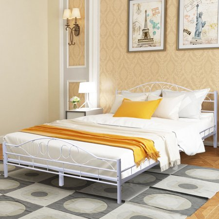 Costway Queen Size Wood Slats Steel Bed Frame Platform Headboard Footboard White