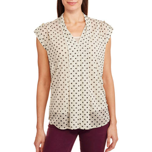 French Laundry Women's Sheer Polka Dot Sleeveless Top With Built-In Cami